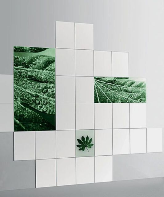 nature motive glass tiles for bathroom wall