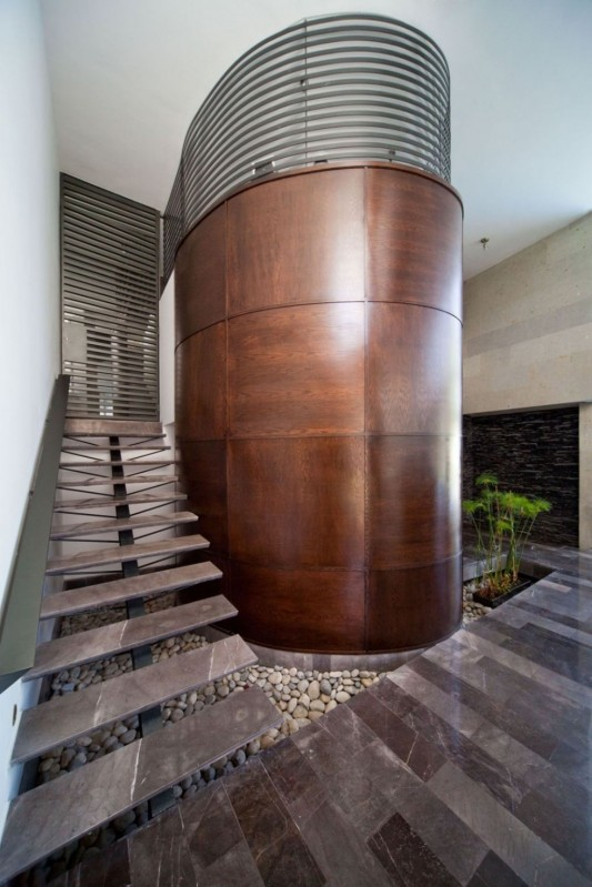 neo-modern house design unique wooden stairs concept