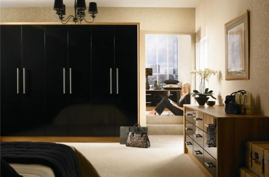 nuvo black high gloss slab wardrobes minimalist design