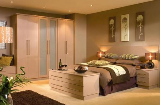 nuvo cappuccino high gloss slab wardrobes minimalist design
