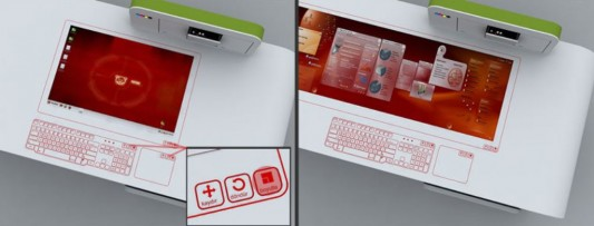 office desk concept with full of technology