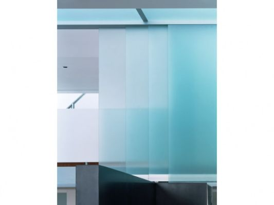 open loft apartment privot glass panels