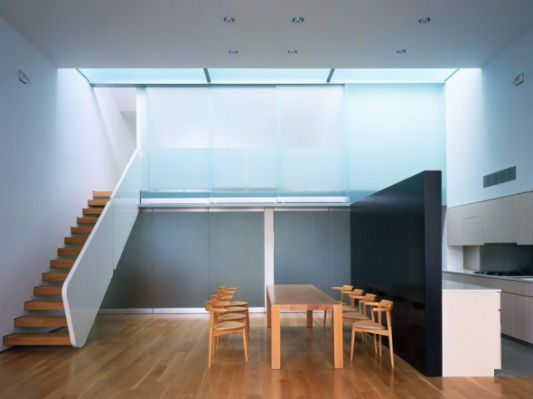 open loft apartment with privot glass panels closed