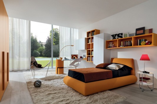 orange color furniture combination for teen bedroom decorating ideas