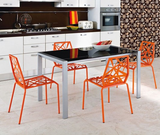 Orange Fresh Color Modern Futuristic Kitchen Chair Design By Dom Italia