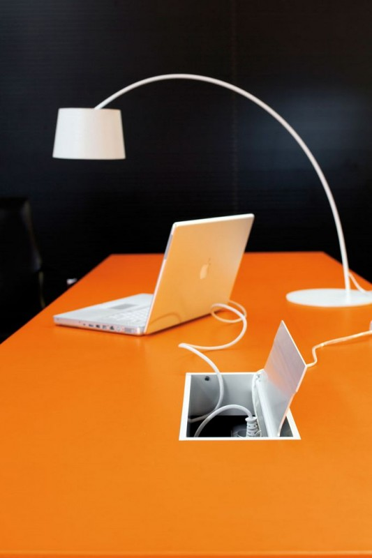orange office table modern minimalist design