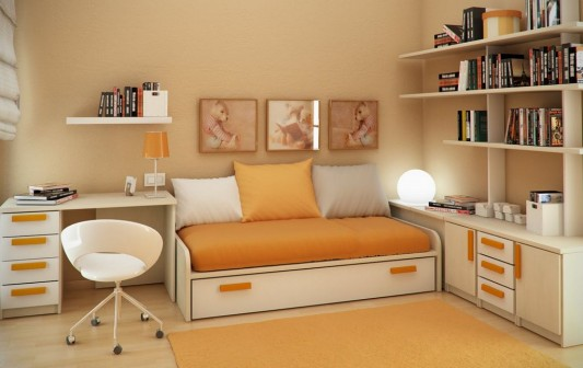 orange style small kids study room design