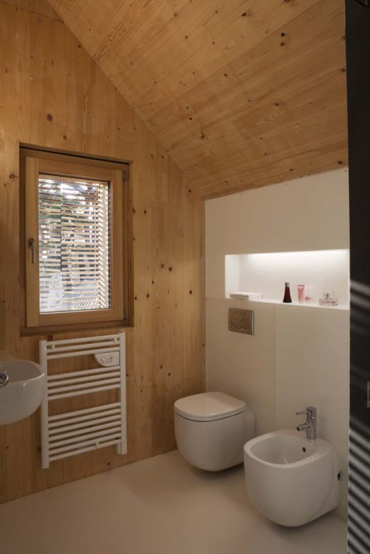 passive wooden house with modern bathroom