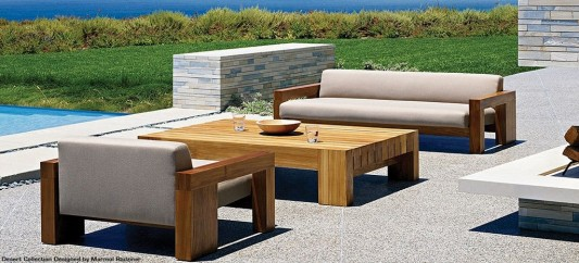 patio decorating design with solid wood furniture
