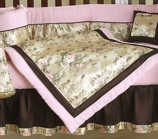 pink and brown crib bedding set design