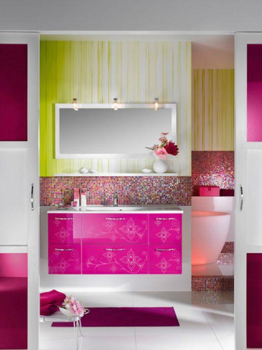 pink bathroom furniture for feminine concept