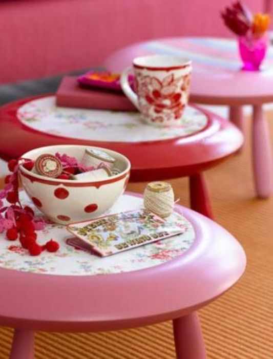 pink iving room table ideas