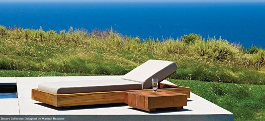 pool deck design ideas with solid wood lounge day bed