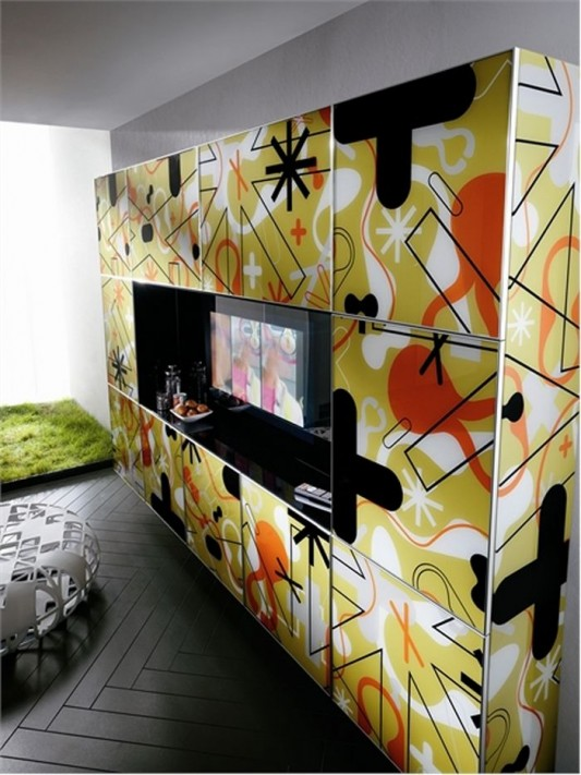 pop art motifs contemporary kitchen cabinet detailed