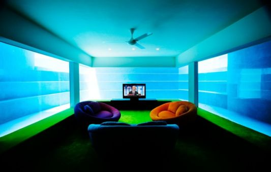 private living room design in fish house by guz architects