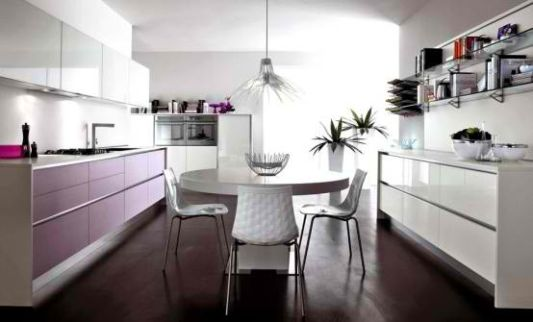 pure white elegant cabinets design in violet modern kitchen ideas