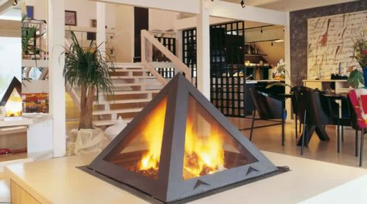 pyramid fireplace clasical design