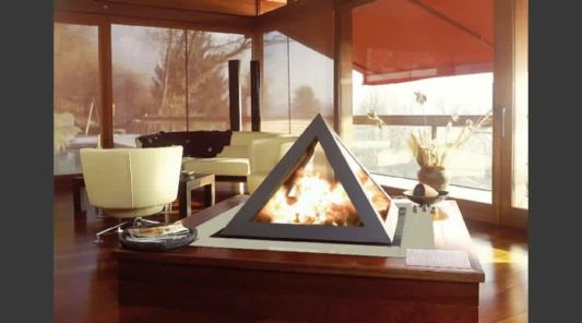 pyramid fireplace standing at the table