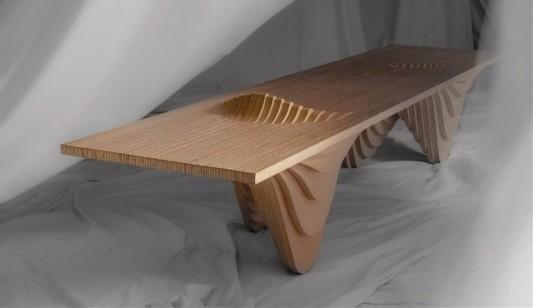 range of mountain artistic plywood birch bench design by Cho hyung suk