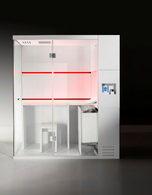 red LED lighting-compact shower box and sauna