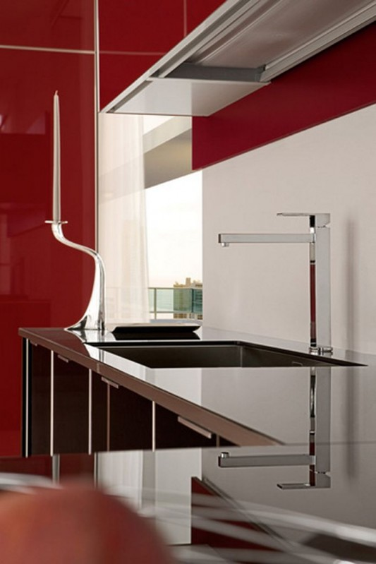 red and black glossy lacquered kitchen modern design