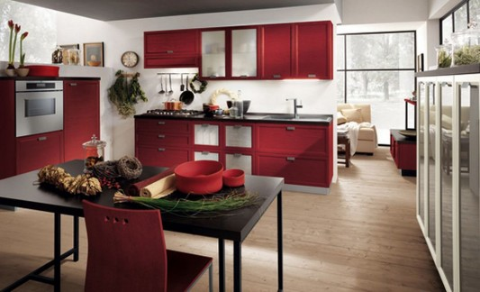 red and white dynamic and elegant kitchen with traditional style