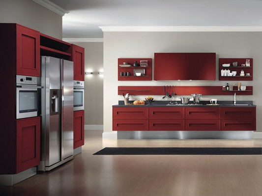 red and white modern classical kitchen design ideas