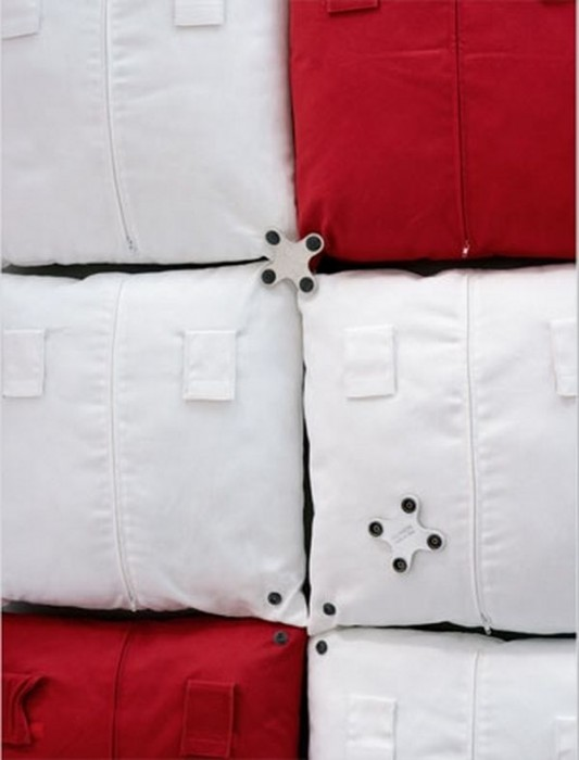 red and white pixel pillowed headboard with clip