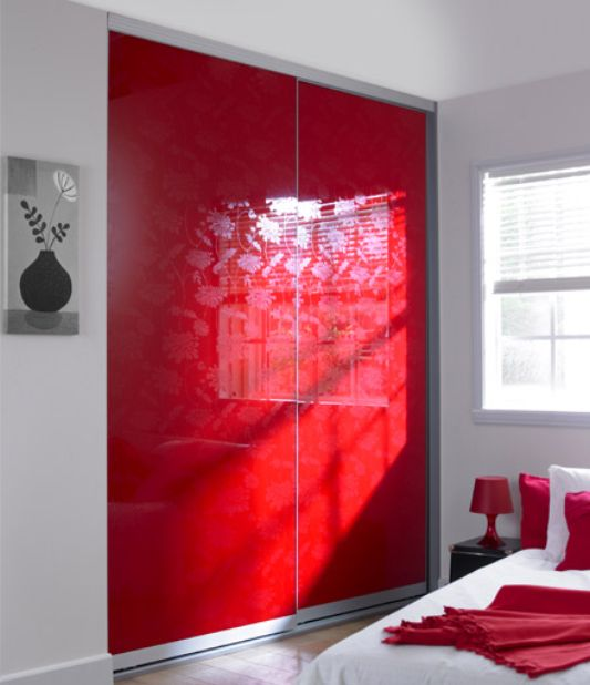 red floral custom sliding door wardrobe