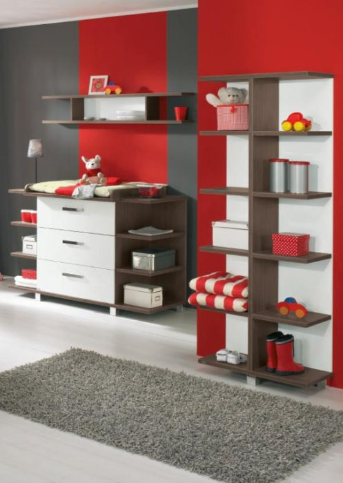 red futuristic wall cupboard design