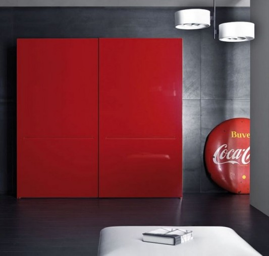 red high gloss tratto wardrobes with two sliding doors