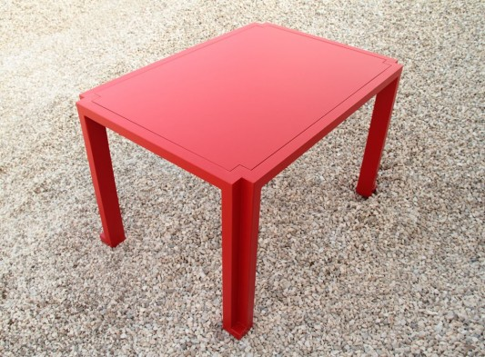 red practical dining table