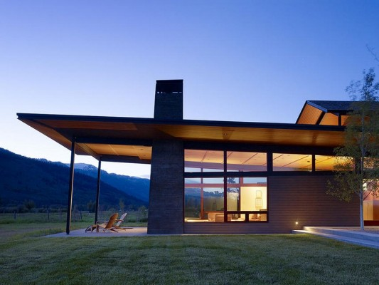residence of contemporary design with natural elements mountains