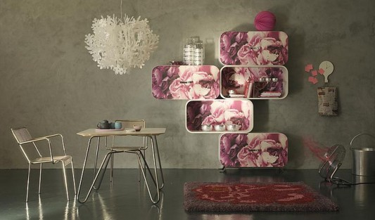 rose flower curved plywood shelving motifs