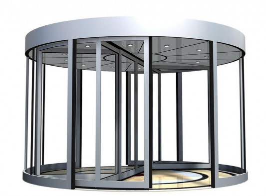 round automatic revolving door system with curved laminate glass
