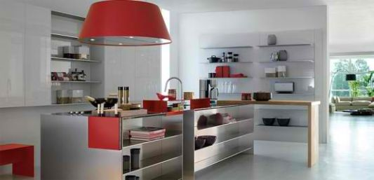 sexy kitchen with stainless steel thin steel shelves