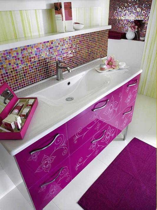 sexy pink color medina washbasin with storage