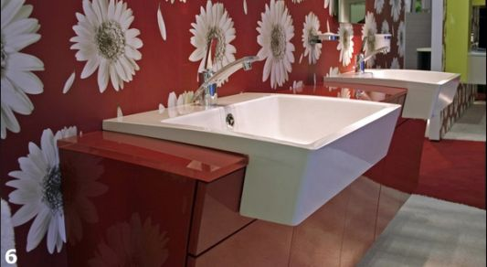 shiny red sinks with floral wall