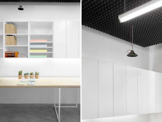 simple and minimalist office design with wall mounted cabinet