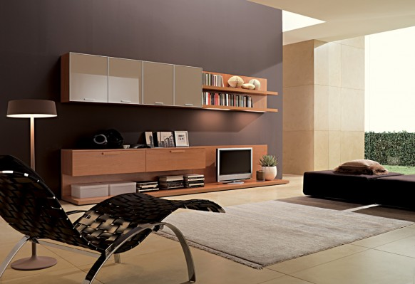 simple brown family room