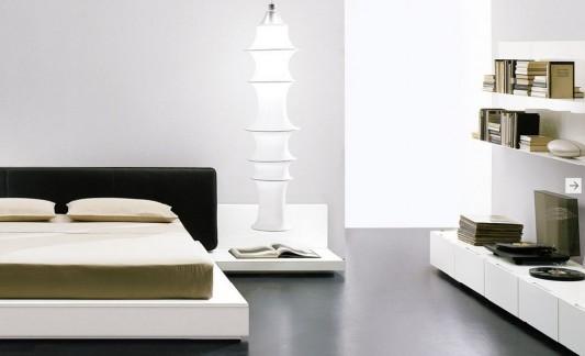 simple minimalist Italian bed built in night table