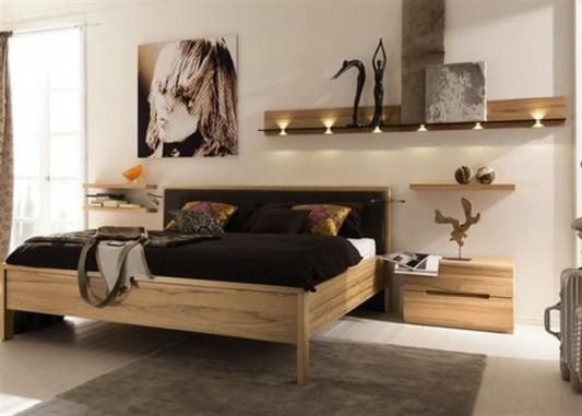 simple minimalist solid wood bedroom design