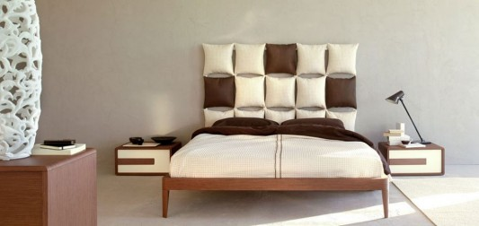 simple stylish wooden bedroom with comfortable headboard