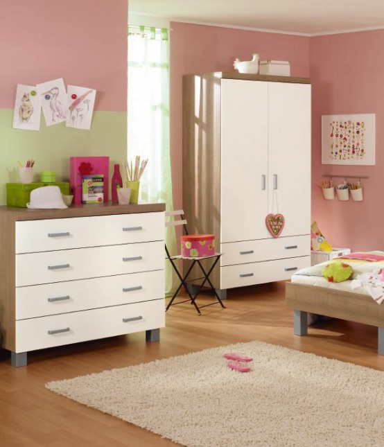 simple white and brown baby nursery furniture sets