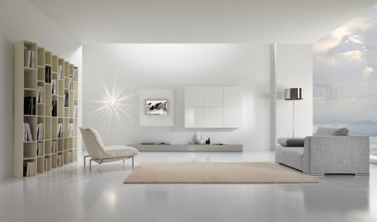 simple white and shiny modern minimalist living room interior