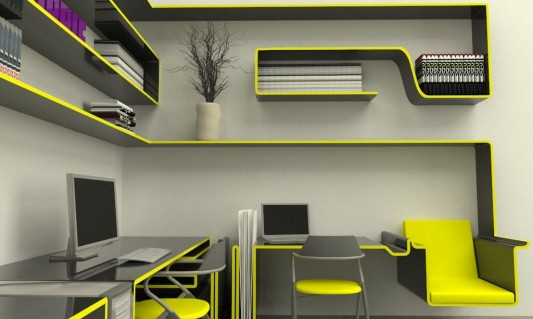 Single Line Furniture For Small Home Office Concept