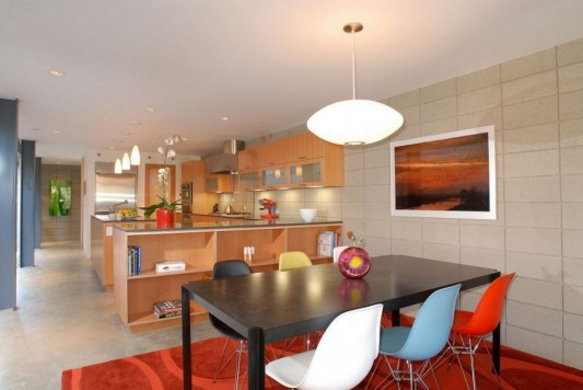 single family residence open interior dining and kitchen area