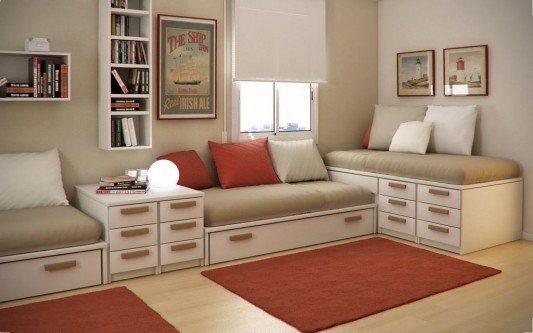 small and stylish kids study room and bedroom design