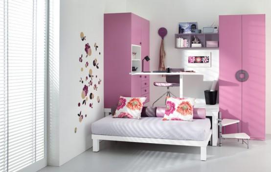 small pink simple teenage loft rooms