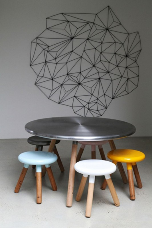 Spun Stool And Dining Table From Steel Wood Material